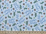 Bugs Reptiles Insects Beetles Ants Lizards Dinosaurs White Ribbed Knit Fabric Print By the Yard (4429F-12J)