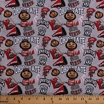 Cotton Ohio State University OSU Buckeyes Brutus Mascot Go Bucks Logos Allover on Gray NCAA College Sports Team Digital Print Cotton Fabric Print by the Yard (OHS-1164)