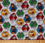 Cotton Paw Patrol Dogs Characters Chase Marshall Rocky Rubble Hexagons Logos Paw Patrol Rescue Kids Children's Cotton Fabric Print by the Yard (PW-4019-4C-1WHITE)