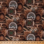 Cotton Woven Baskets Basket Vase Designs Southwest Southwestern Tribal Flowers Stars Spirals Brown Blue Green Cotton Fabric Print by the Yard (1133047-B2-BROWN)