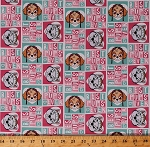 Cotton Paw Patrol Rescue Dogs Skye Everest Characters Best Pups Ever Squares Hearts Pink Aqua Girl Pup Power Kids Children's Girls Cotton Fabric Print by the Yard (PW-4127-6C-1AQUA)