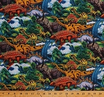 Cotton Dinosaurs Dinos T-Rex Pterodactyl Brachiosaurus Triceratops Raptors Stegosaurus Jurassic Scene Jungle Wildlife Animals Reptiles Age of the Dinosaurs Kids Children's Scenic Cotton Fabric Print by Yard (AL-3168-5C-1MULTI)