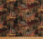 Cotton Thomas Kinkade Cabins Cottages Houses Homes Pine Trees Woods Fall Colors Scenic Landscape Autumn Cabins Cotton Fabric Print by the Yard (TK-8061-8C-1)