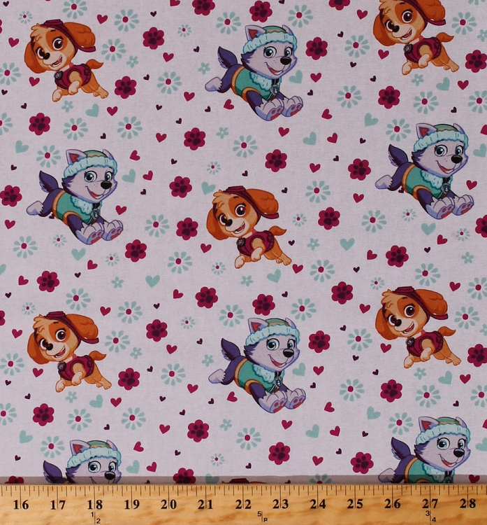 Beautiful Cotton Paw Patrol Rescue Dogs Allover Skye Everest Characters Hearts  Flowers Pawprints Paw Prints Paws Pink Aqua Girl Pup Power Kids Girls  Cotton Fabric ...