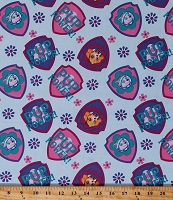 Cotton Paw Patrol Pup Power Everest Skye Dogs Flowers Shield Toss on Aqua Blue Kids Cotton Fabric Print by the Yard (PW-4049-5C)