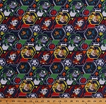 Cotton Paw Patrol Rescue Dogs Chase Marshall Rocky Rubble Hexagons Mission Pawsible Navy Blue Cotton Fabric Print by the Yard (PW-4145-6C-2)