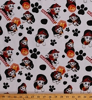 Cotton Paw Patrol Marshall Firefighter Fire Dog Dalmatian Paws & Spots Kids White Cotton Fabric Print by the Yard (PW-4226-7C-1)