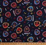Cotton Paw Patrol Police Dogs Badges Bones on Navy Blue Chase on the Case Cotton Fabric Print by the Yard (PW-4243-7C-2)