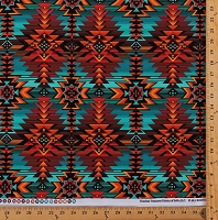 Cotton Southwestern Native American Aztec Tribal Diamond Stripes Southwest Turquoise Rust-Red Brown Geometric Patterned Cotton Fabric Print by the Yard (west-c7510-turq)