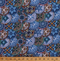 Cotton Talavera Plates Mexican Pottery Painted Designs Spanish Fiesta Blue Cotton Fabric Print by the Yard (109BLUE)