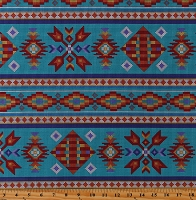 Cotton Southwestern Stripes Beadwork-Look Native American Aztec Tribal Designs Pixelated Tucson Turquoise Cotton Fabric Print by the Yard (450TURQUOISE)
