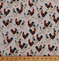 Cotton Roosters Chickens Farm Animals Barnyard Poultry on Beige Cotton Fabric Print by the Yard (50621-4)