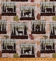 Cotton Moose Deer Bears Lodge Life Cabin Northwoods Camping Wildlife Animals Simple Living Cotton Fabric Print by the Yard (WA-3620-6C)