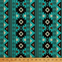 Cotton Spirit Trail Turquoise Southwestern Stripes Southwest Tribal Native American Aztec Design Cotton Fabric Print by the Yard (42878A-1)