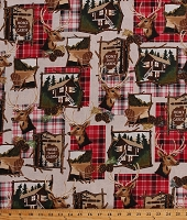 Cotton Northwoods Scenes Cabins Lodge Deer Wildlife Camping Vacation Nature Red Plaid Home Sweet Cabin Cotton Fabric Print by the Yard (51080-1)