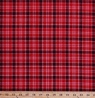Cotton Plaid Red Black Checkered Checks Stripes Home Sweet Cabin Northwoods Cotton Fabric Print by the Yard (51083-3)