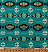 Cotton Southwestern Geometric Diamonds Tribal Designs Native American Aztec Spirit Trail Turquoise Cotton Fabric Print by the Yard (49000-3)