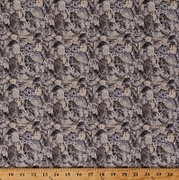 Cotton Petoskey Stones Allover Rock Pebbles State Stone of Michigan Landscape Digital Cotton Fabric Print by the Yard (5846M-8B)