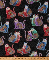 Cotton Playful Cats Whimisical Felines Animals Colorful Paisleys Gold Metallic Shimmer on Black Cat-i-tude 2 PurrFect Together Cotton Fabric Print by the Yard (7559M-12)