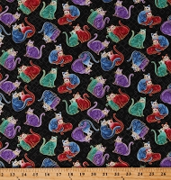 Cotton Colorful Cats Cat Sweethearts Animals Felines on Black Gold Metallic Shimmer Whimsical Fancy Cat-i-tude 2 PurrFect Together Cotton Fabric Print by Yard (7557M-12)
