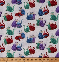 Cotton Cats Whimsical Felines Blue Purple Green Animals Gold Metallic Shimmer on White Mini Scroll Cat-i-tude 2 PurrFect Together Cotton Fabric Print by the Yard (7558M-09)