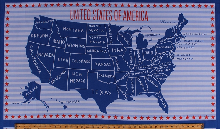 """Blue Print Store >> 23.5"""" X 44"""" Panel United States of America Country Map State Names USA American Patriotic Red ..."""