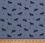 Cotton Horses Horseshoes Hearts Stallions Mares Ponies Equestrian Animals Ranch Cowgirls Hot To Trot Blue Cotton Fabric Print by the Yard (CX7238-DENI-D)