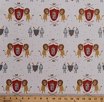 Cotton Knights Armor Shields Swords Lions Lancelot Kid Medieval Cotton Fabric Print by the Yard (C7080-CREAM)