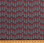 Cotton Lipsticks Lipstick Tubes Makeup Fashionista Cosmetics Kiss Me Kate Pink Gray Cotton Fabric Print by the Yard (C7521-GRAY)