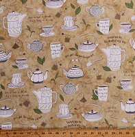 Cotton Teacups Teapots Tea Quotes Kettles Tea Bags Cups Saucers Tea Party Teatime Tan Tea-Rrific Cotton Fabric Print by the Yard (1649-25776-A)