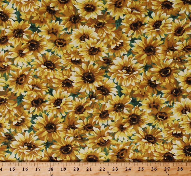 Cotton sunflowers floral blossoms autumn fall blooms botanical blossoms autumn fall blooms botanical garden nature golden yellow flowers on green little sunflower cotton fabric print by the yard cx3078 snsh d mightylinksfo Gallery