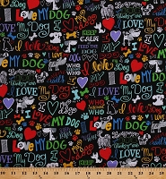 Cotton Dogs Pets Hearts I Love My Dog Words Phrases Rescues Animals Black Cotton Fabric Print by the Yard (GAIL-C5710-BLACK)