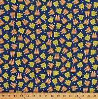 Cotton Construction Workers Work Vests Uniforms Allover on Navy Blue Kids The Big Dig Cotton Fabric Print by the Yard (42926-1)