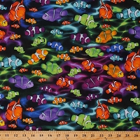 Cotton Fish Multi-Colored Clownfish Allover Sea Ocean Underwater Ripples Life's A Beach Black Cotton Fabric Print by the Yard (08440-99)