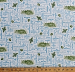 Cotton US National Parks Mountains Mount Rainier Everglades Mammoth Caves Yosemite United States USA Travel Tourists Road Trip Blue Words on White Cotton Fabric Print by the Yard (1649-24403-Z)