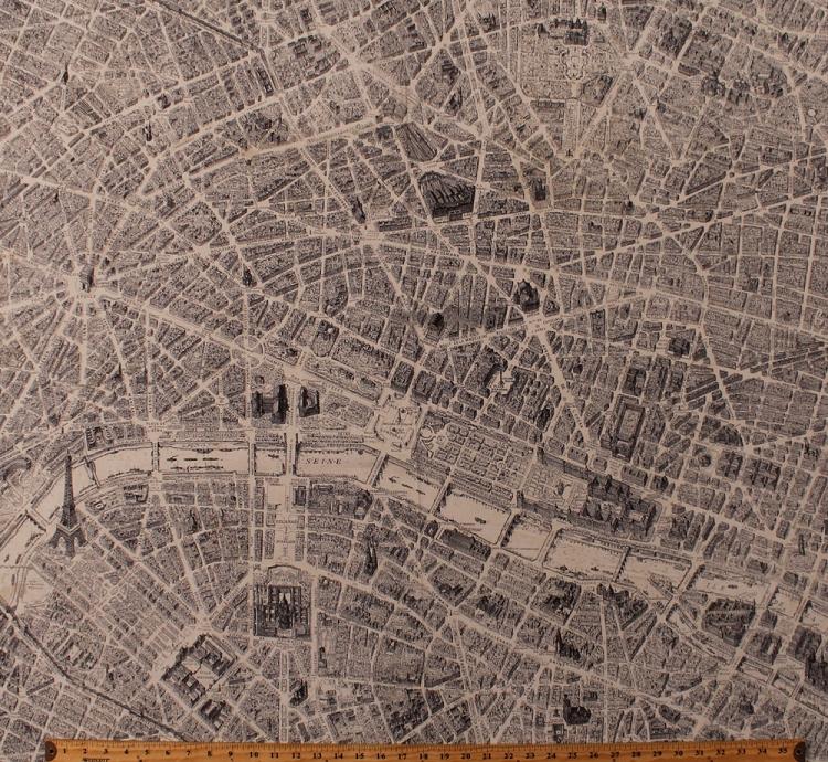 Map Of France Eiffel Tower.Cotton Maps Map Of Paris Streets Eiffel Tower River Seine France French Landmarks Monuments Tourists Travel Destination Paris Cartography Cotton