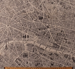 Cotton Maps Map of Paris Streets Eiffel Tower River Seine France French Landmarks Monuments Tourists Travel Destination Paris Cartography Cotton Fabric Print by the Yard (42494-X)