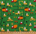 Cotton Construction Vehicles Dump Trucks Bulldozers Backhoe Loaders Cranes Diggers Cement Mixers Safety Cones Signs on Green Kids Boys Cone Zone Cotton Fabric Print by the Yard (ACY-12841-7GREEN)