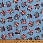 Cotton Route 66 Highway Signs Country All-American Road Trip Travel Transportation Patriotic Red White Blue Cotton Fabric Print by the Yard (4320-11)