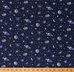 Cotton Planets Stars Outer Space Galaxy Galaxies Astronomy Silver Glitter Metallic on Navy Blue Cotton Fabric Print by the Yard (16094286)