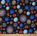 Cotton Realistic Planets Stars Solar System Outer Space Astronomy Galaxy Digital Print Cotton Fabric Print by the Yard (Q4410-CELESTIALS-549)