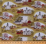 Cotton Pastoral Country Churches Farmhouses Red Barns Fields Pastures Scenic Landscape Amazing Grace Cotton Fabric Print by the Yard (4710GREEN)