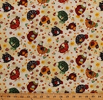 Chickens Chicken Poultry Hens Farm Animals Birds Country Flowers Floral Cotton Cotton Fabric Print by the Yard (6872-44)