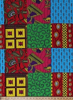 Cotton African Print Chaigany Wax Imani Block Bright Multi-Color Blocks Tribal Designs Africa Cotton Fabric Print by the Yard (68219-A57078DR)