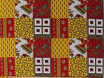 Cotton African Print Chaigany Wax Kali Red Yellow Block Print Africa Tribal Designs Cotton Fabric Print by the Yard (68211-D65078DR)