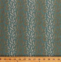 Cotton Something Blue by Edyta Sitar Lavender in Cornflower Cream Gold Plants Sprigs Flowers Floral on Teal Cotton Fabric Print by the Yard (A-8823-W)