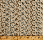 Cotton Something Blue by Edyta Sitar Morning Glory Flowers Floral Scroll Ecru Cotton Fabric Print by the Yard (A-8830-N)