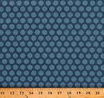 Cotton Something Blue by Edyta Sitar Maid of Honor in Delft Polka Dots Spots Circles on Dark Blue Cotton Fabric Print by the Yard (A-8831-B)