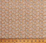 Cotton Something Blue by Edyta Sitar Summer Field Burlap-Look Blue Flowers Floral on Tan Cotton Fabric Print by the Yard (A-8826-N)