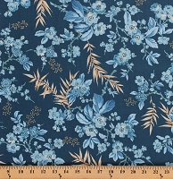 Cotton Something Blue by Edyta Sitar Bouquet in Dark Blue Flowers Morning Glory Floral Flowering Branches Allover Cotton Fabric Print by the Yard (A-8822-B)